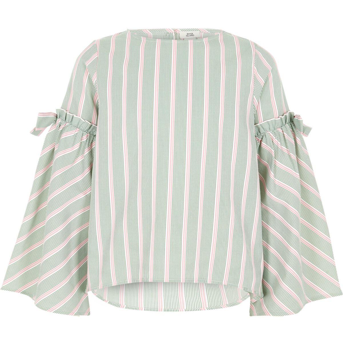 Girls green stripe bow bell sleeve top