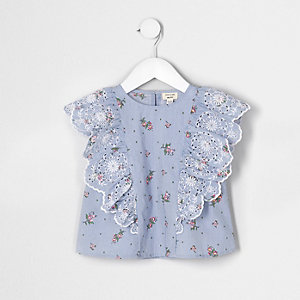 Mini - Blauwe top met broderie en ruches