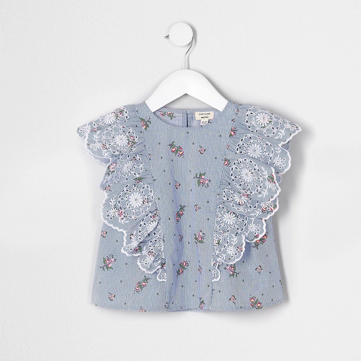 Mini girls blue broderie frill top