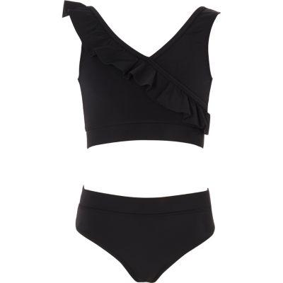 River Island Bikini noir effet cache-cœur à volant fille