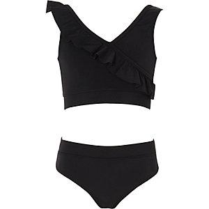 Girls black wrap front frill bikini set