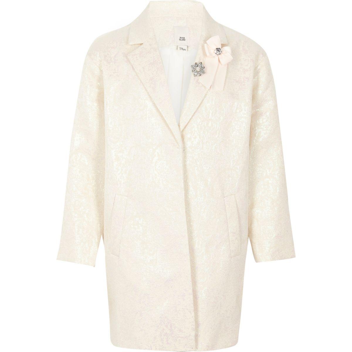 Girls white iridescent jacquard brooch coat