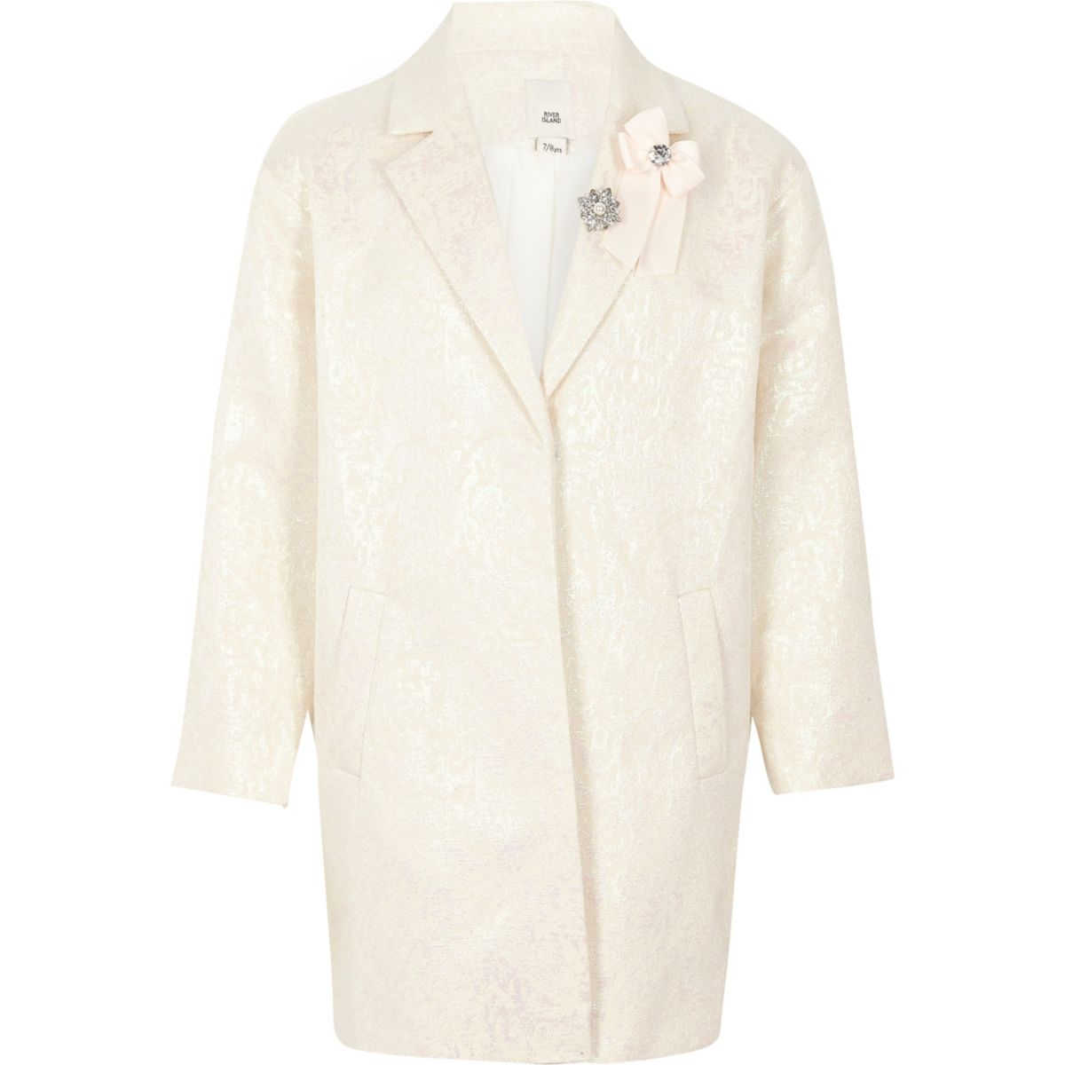 Girls white iridescent jacquard brooch coat