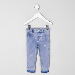 Mini girls blue released hem Molly jeggings