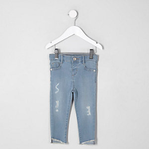 Mini - Amelie - Blauwe distressed skinny jeans voor meisjes
