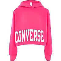 Girls bright pink Converse cropped hoodie