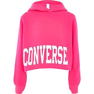 Converse – Pinker kurzer Hoodie mit Logoprint