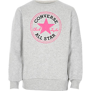 Girls grey Converse crew neck sweatshirt