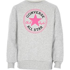 Converse – Sweat ras-du-cou gris pour fille