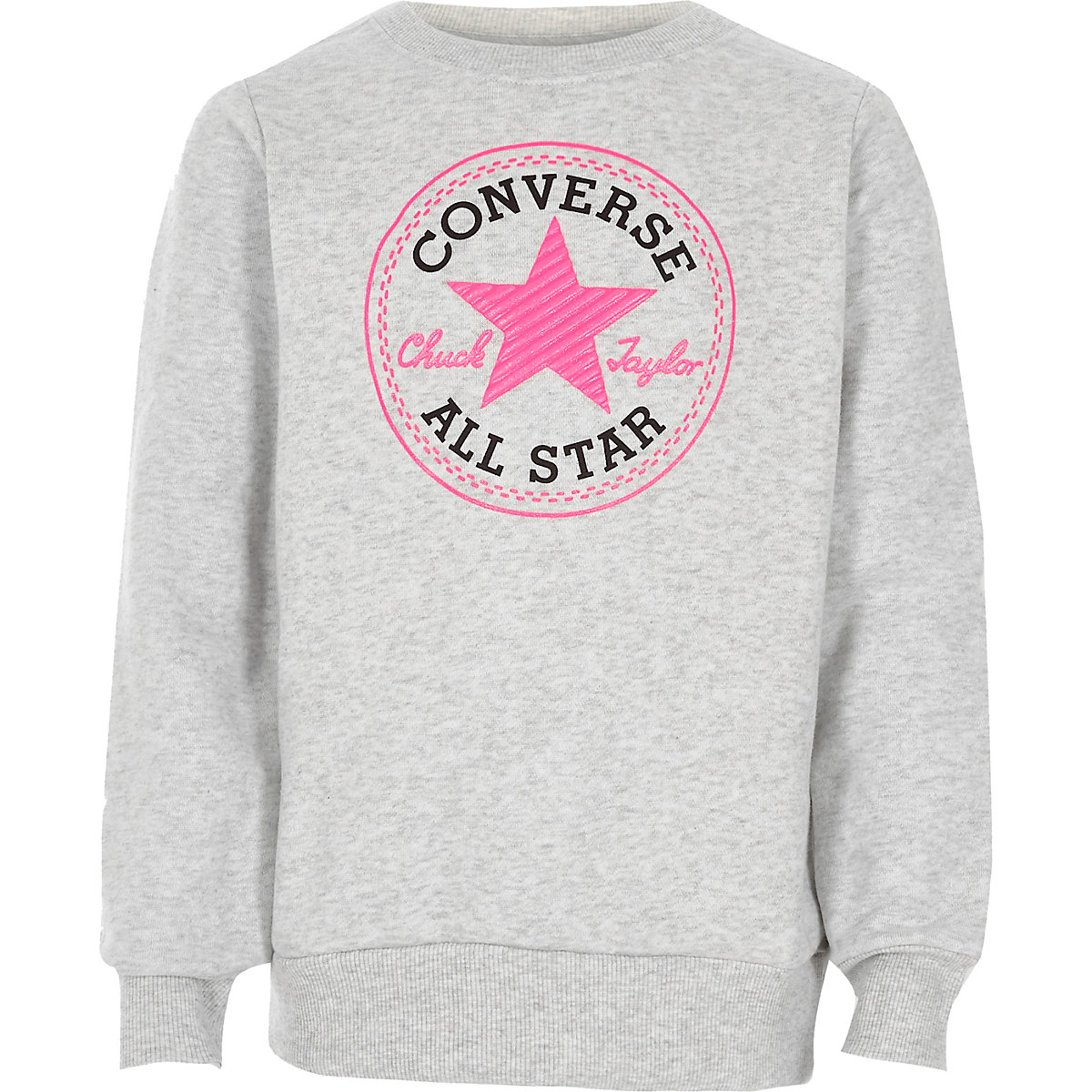 Girls Converse grey crew neck sweatshirt