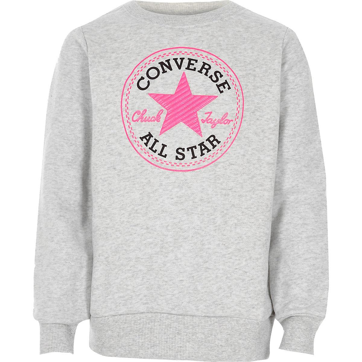 Girls Converse grey crew neck sweatshirt