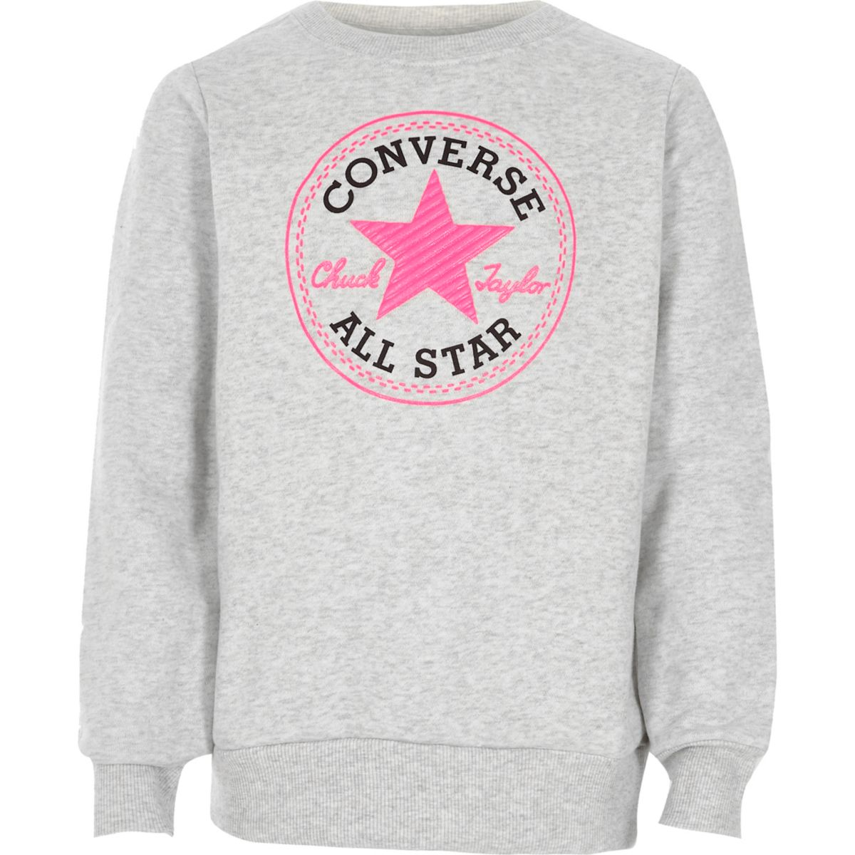 Converse - Grijs sweatshirt met ronde hals voor meisjes