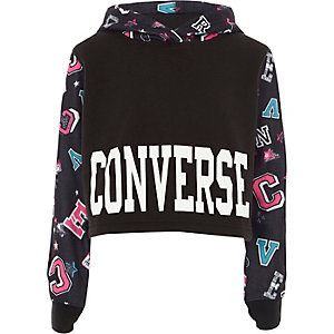 Girls black Converse badge cropped hoodie