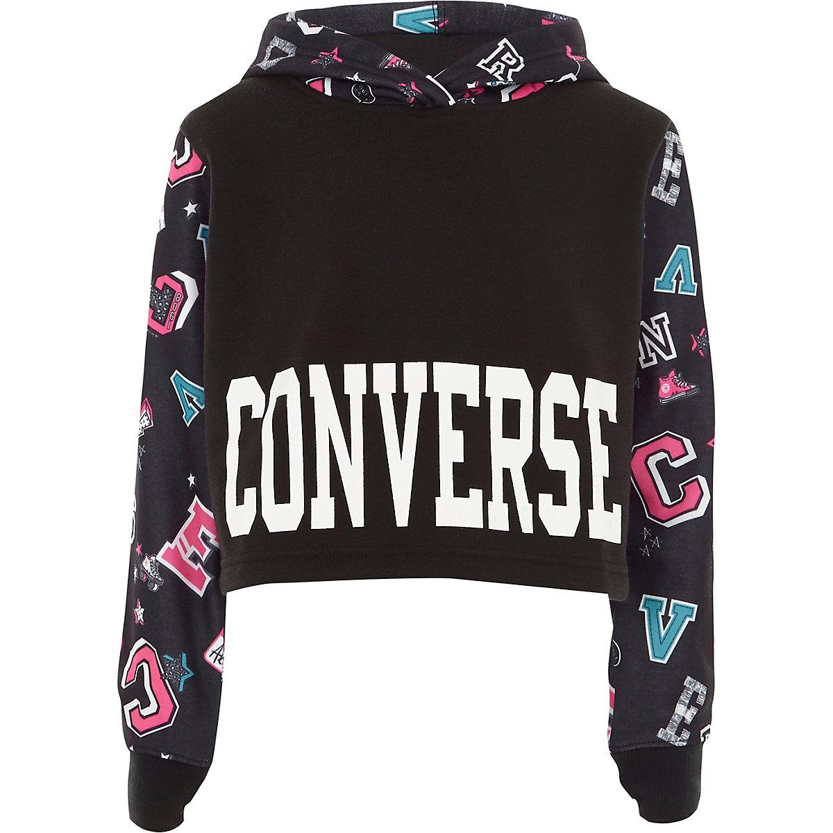 Girls Converse black badge cropped hoodie