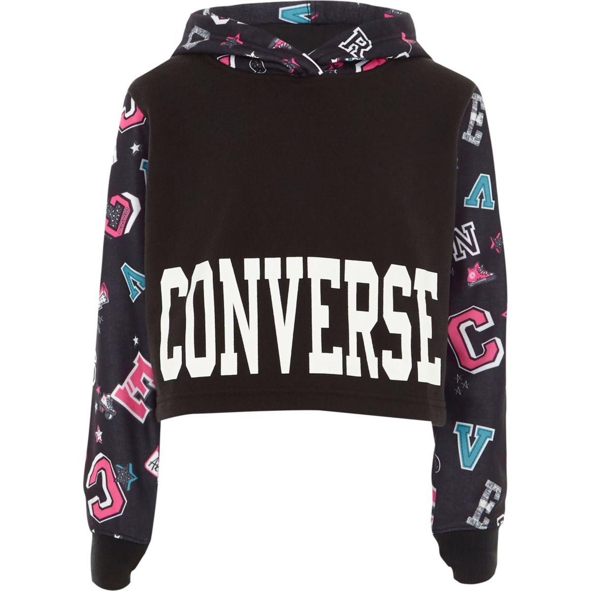 Converse – Sweat à capuche court noir motifs écussons pour fille