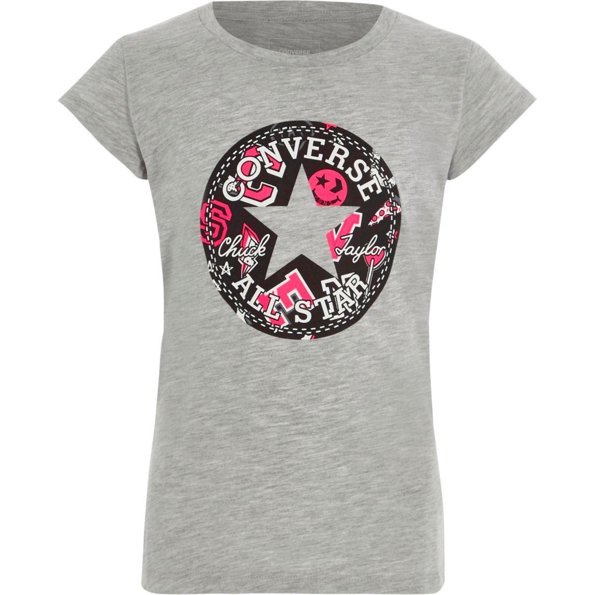 Converse – T-shirt imprimé «All Star» gris pour fille