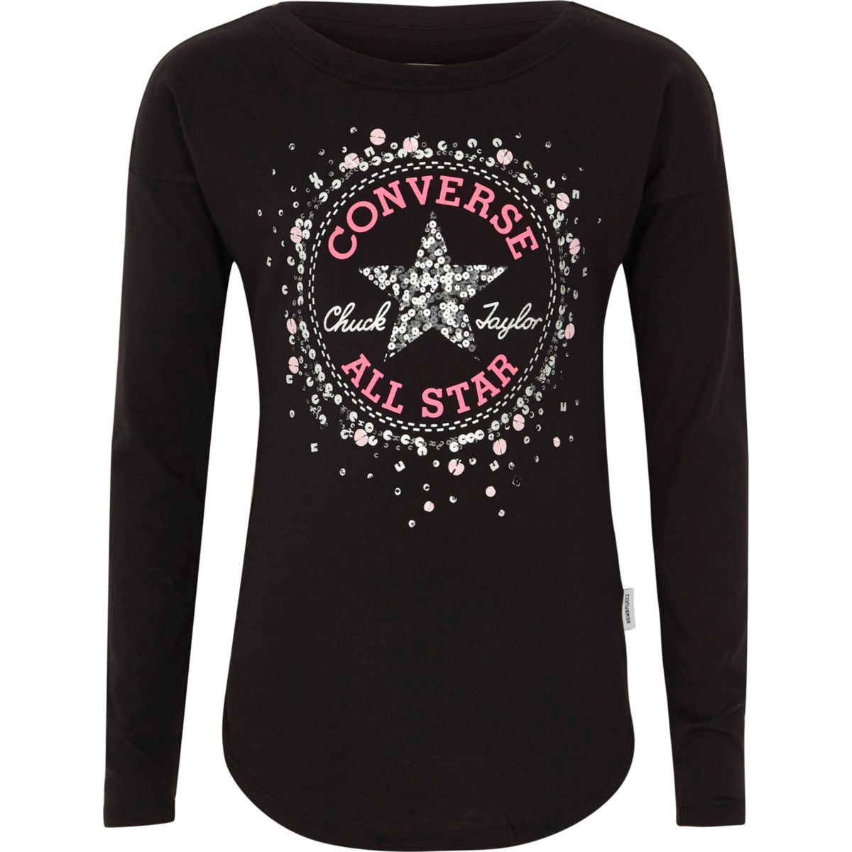 Girls Converse black sequin print T-shirt