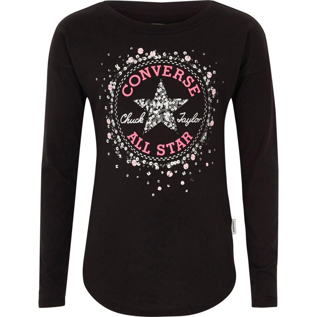 Converse – T-shirt imprimé noir à sequins pour fille