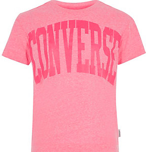 Girls pink Converse print T-shirt