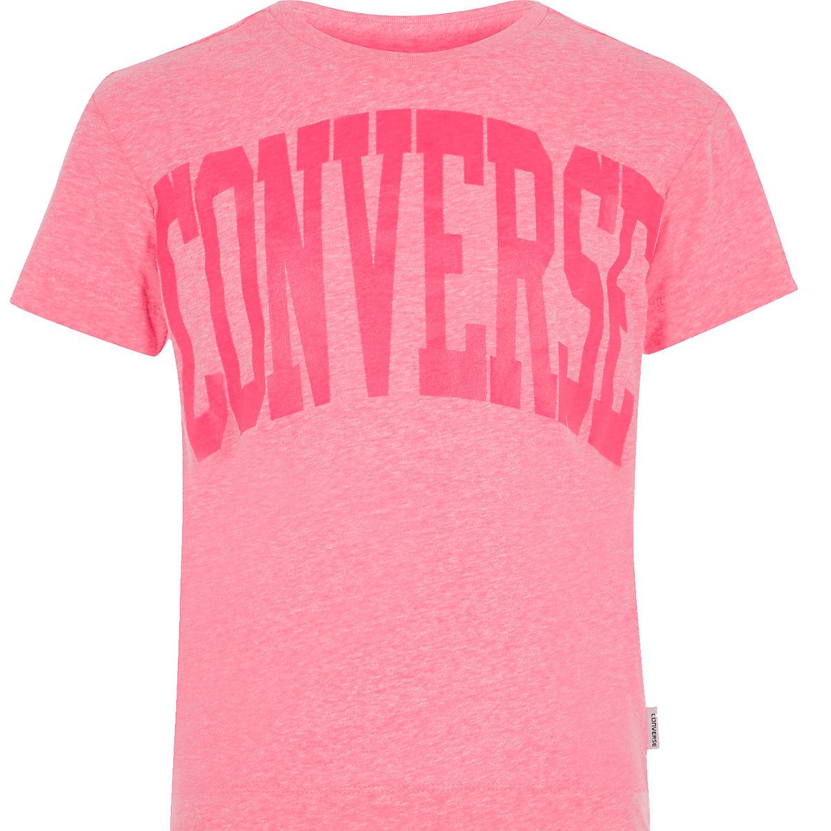 Converse – T-shirt imprimé rose pour fille