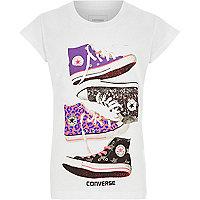 Girls white Converse sneakers print T-shirt