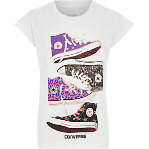 Girls white Converse sneakers print T-shirt