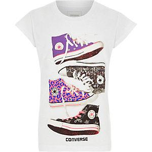 Converse - Wit T-shirt met sneakersprint voor meisjes