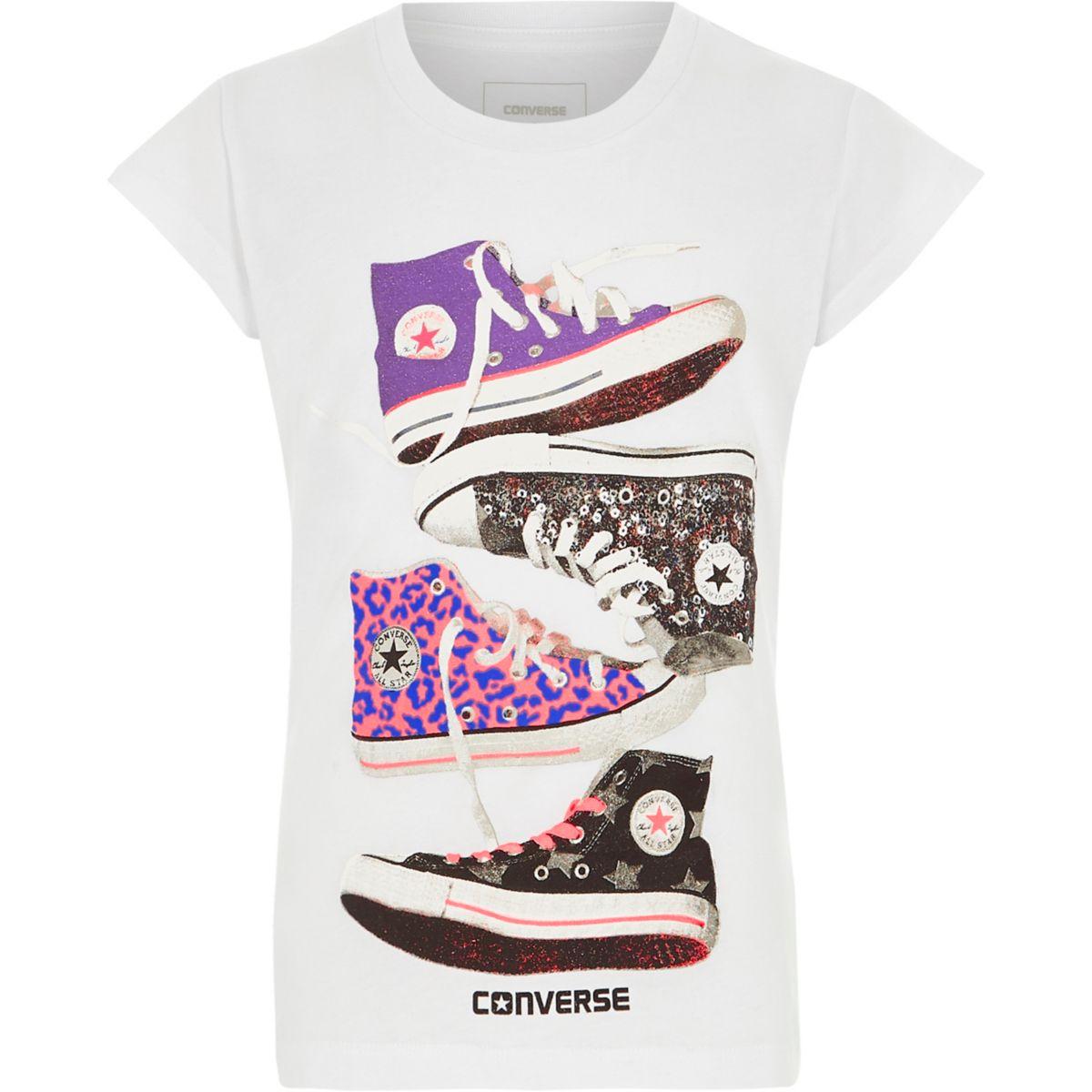 Converse – T-shirt imprimé baskets blanc pour fille