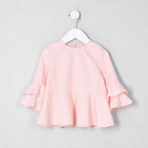 Mini girls pink frill sleeve top