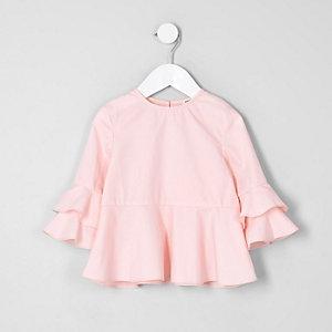 Mini - Roze top met ruches aan de mouwen voor meisjes