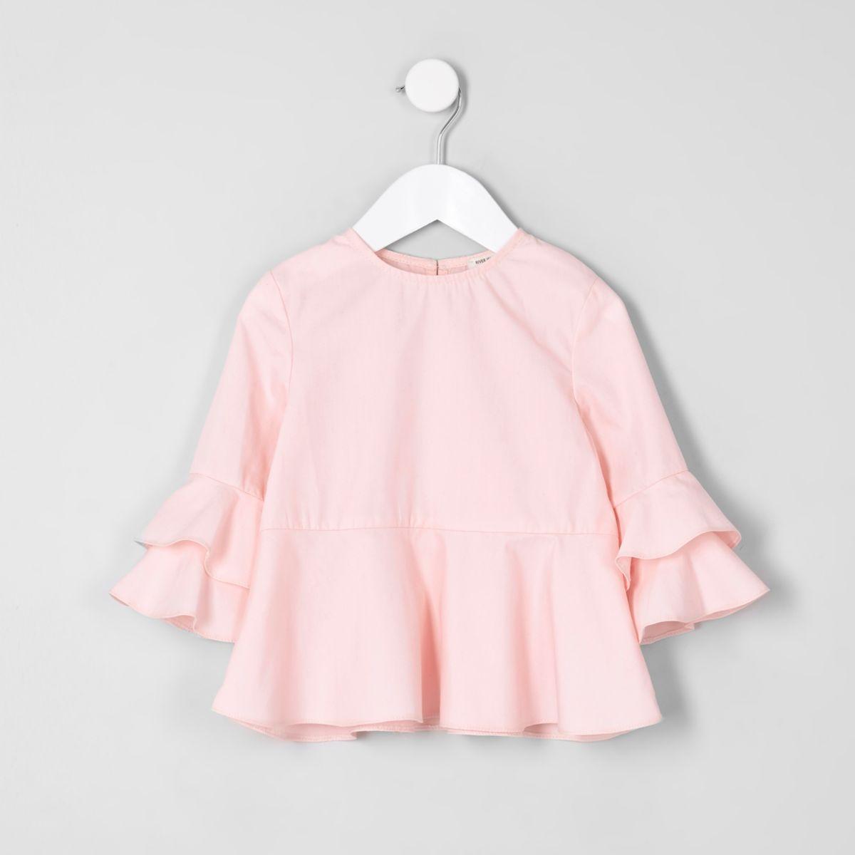 Mini girls pink frill sleeve top