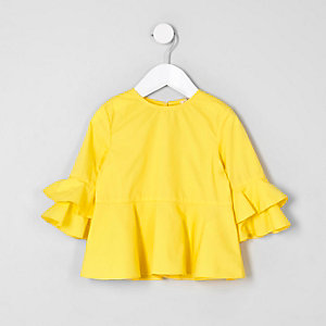 Mini girls yellow frill sleeve top