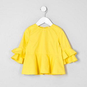 Top jaune avec manches à volants mini fille