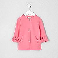 Mini girls pink frill cuff button-up jacket