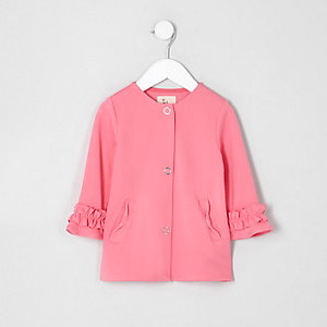 Mini girls pink frill cuff button-up jacket