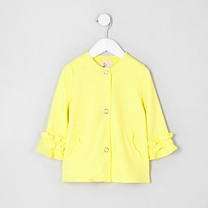 Mini girls yellow frill cuff button-up jacket