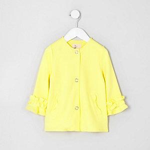 Veste jaune boutonnée avec volants aux poignets mini fille