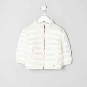Mini girls cream puffer jacket