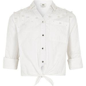 Chemise blanche ornée de fausses perles à liens pour fille