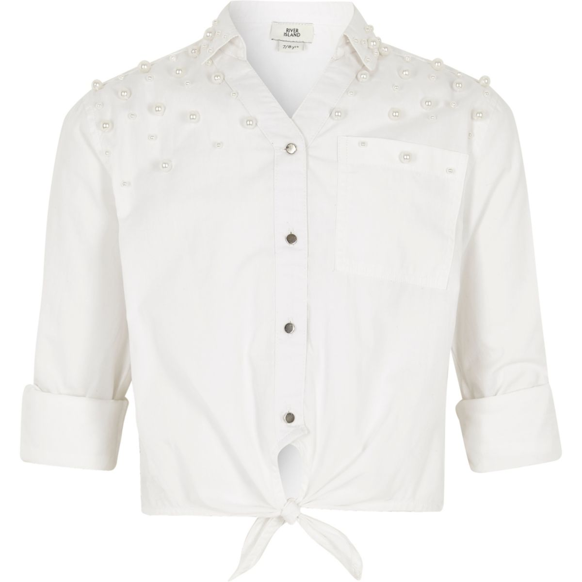 Girls white faux pearl embellished tie shirt