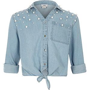 Blauw denim verfraaid overhemd met pareltjes en strik voor meisjes