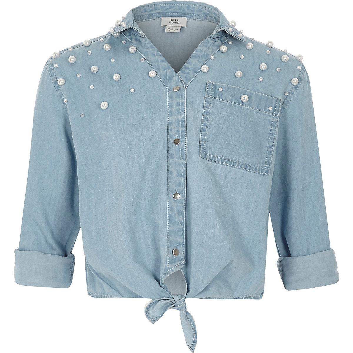 Girls blue pearl embellished denim tie shirt