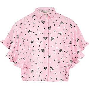 Roze gebloemd overhemd met capemouw en ruches voor meisjes