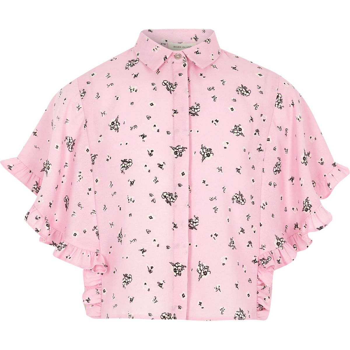 Girls pink floral cape frill sleeve shirt