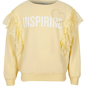 Girls yellow 'inspiring' lace trim sweatshirt