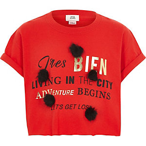 Girls red 'tres bien' print pom pom T-shirt