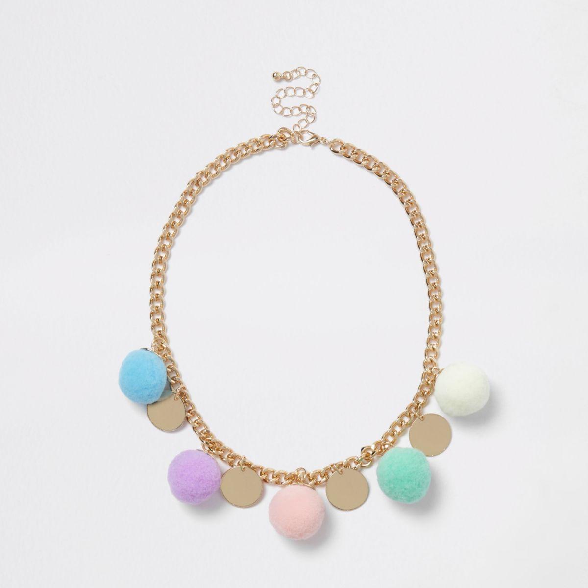 Girls gold tone pom pom disc necklace