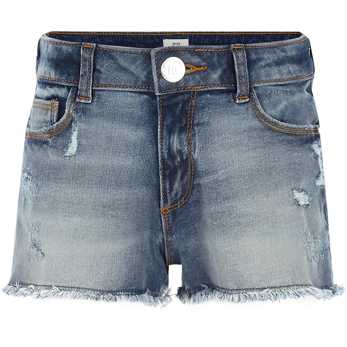Blaue Jeansshorts im Used Look