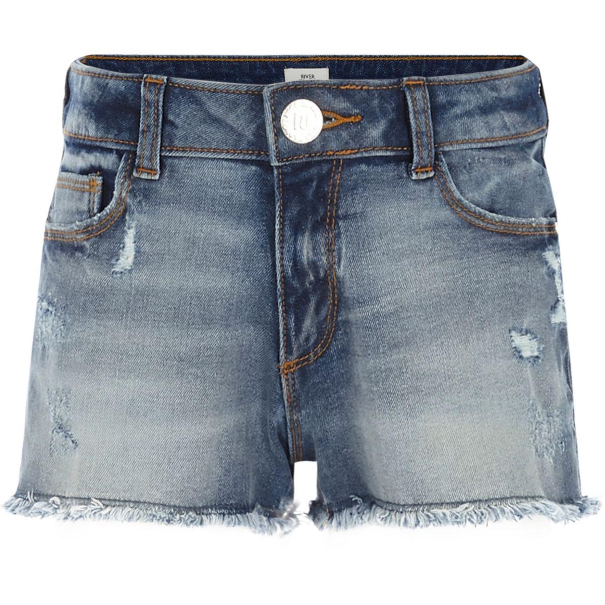 Short en jean bleu usé pour fille