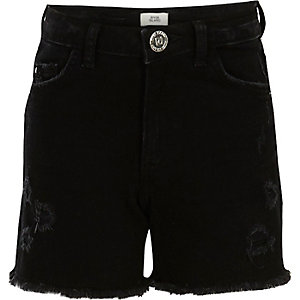 Girls black ripped denim shorts
